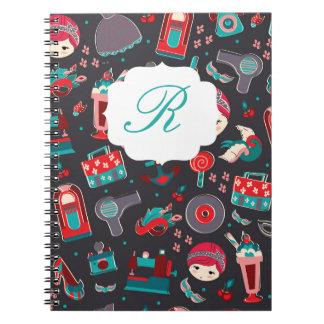 Chica retro cuaderno