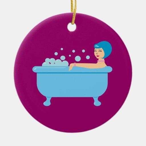 Chica retro del baño de burbujas ornamentos para reyes magos