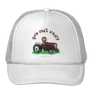 Chica rojo claro del granjero gorras de camionero