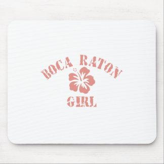 Chica rosado de Boca Raton Alfombrillas De Ratón