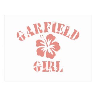 Chica rosado de las alturas de Garfield Postal