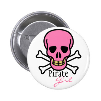 Chica rosado del Cráneo-Pirata Chapa Redonda 5 Cm