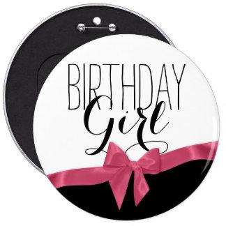 Chica rosado del cumpleaños del arco de la cinta