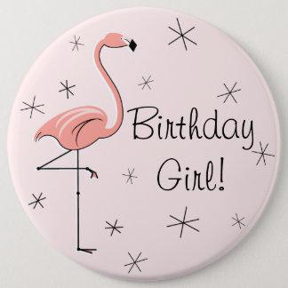 """Chica rosado del cumpleaños del flamenco """"!"""" botón"""