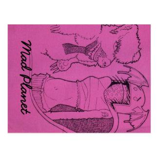 Chica rosado del fantasma y oso enojado postal