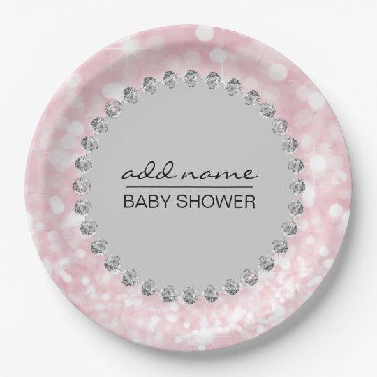Chica rosado/gris personalizado de la fiesta de plato de papel