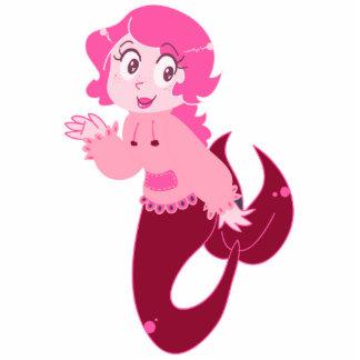 Chica rosado lindo de la sirena escultura fotográfica