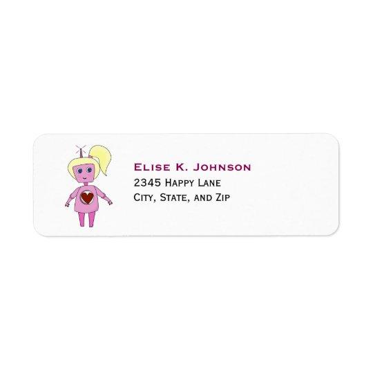 Chica rosado lindo del robot de la ciencia ficción etiqueta de remitente