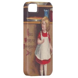 Chica sobre las empanadas de la acción de gracias iPhone 5 coberturas