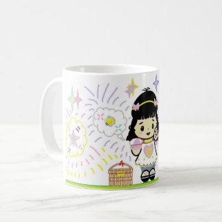 Chica sonriente taza de café