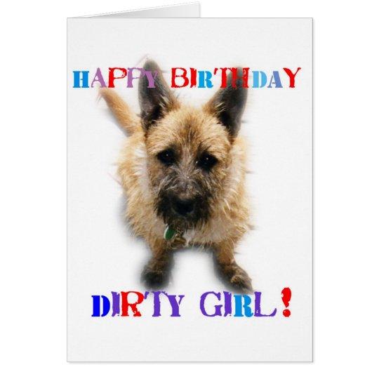 Chica sucio del feliz cumpleaños tarjeta de felicitación