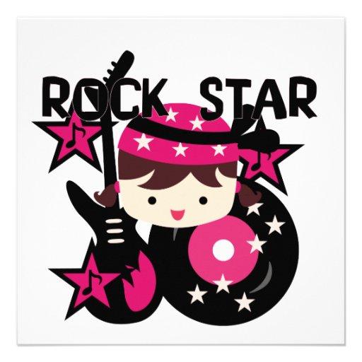 Chica trigueno de la estrella del rock invitación personalizada