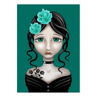 Chica triste con los rosas del azul del trullo tarjeta de negocio