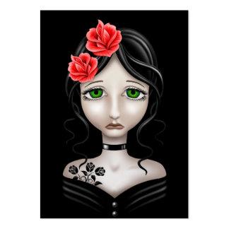 Chica triste con los rosas rojos en negro plantillas de tarjetas de visita