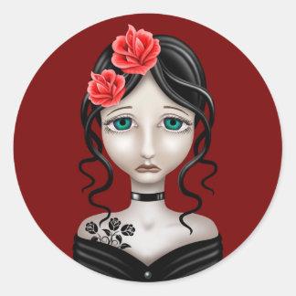 Chica triste con los rosas rojos pegatina