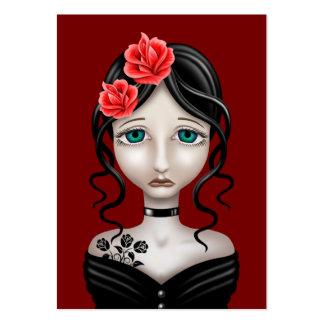 Chica triste con los rosas rojos tarjetas de visita