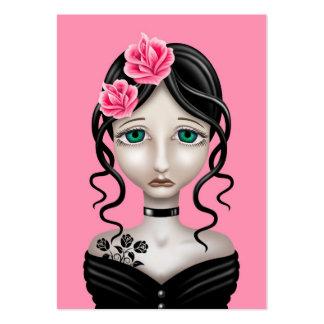 Chica triste con los rosas rosados tarjeta de visita