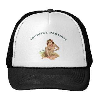 Chica tropical de la isla del paraíso gorras