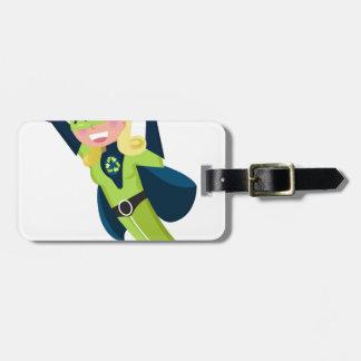 Chica verde del super héroe etiqueta para maletas