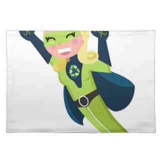 Chica verde del super héroe salvamanteles