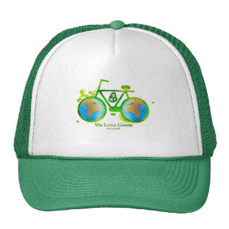 Chica verde respetuoso del medio ambiente ambienta gorros bordados