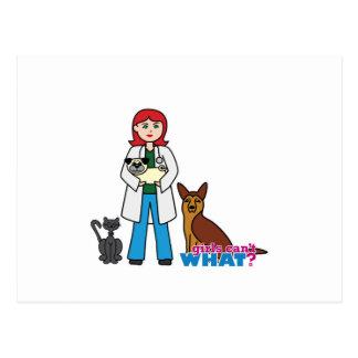 Chica veterinario - luz/rojo tarjeta postal