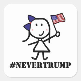 Chica y bandera - #NeverTrump Pegatina Cuadrada