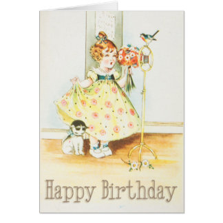 Chica y gato del vintage del feliz cumpleaños tarjeta