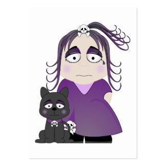 Chica y gato góticos tristes en púrpura tarjeta de negocio