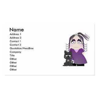 Chica y gato góticos tristes en púrpura tarjetas de negocios