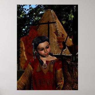Chica y halcón nativos del susurro del halcón póster