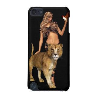Chica y león prehistóricos de la fantasía funda para iPod touch 5G