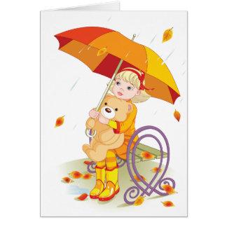 Chica y oso de peluche en las tarjetas de