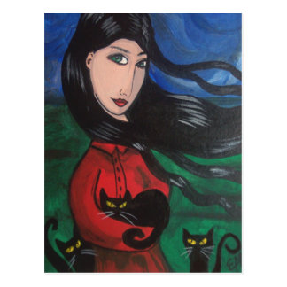 Chica y sus gatos negros postal