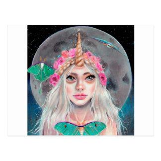 Chica y sus polillas de Luna, arte original del Postal