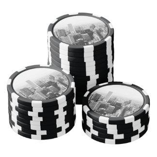 Chicago blanco y negro Illinois Fichas De Póquer