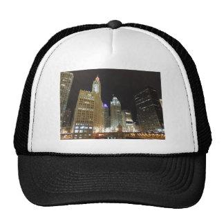 Chicago céntrica en la noche gorras de camionero