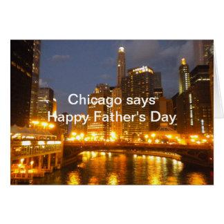 Chicago en la tarjeta del día de padre del río