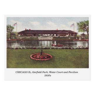 Chicago IL, parque de Garfield, postal de la corte
