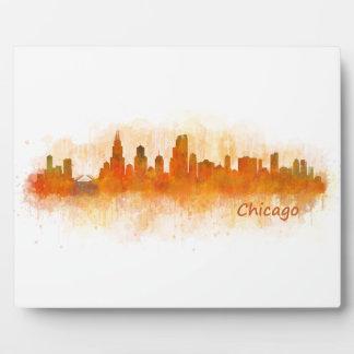chicago Illinois City Skyline v03 Placa Expositora