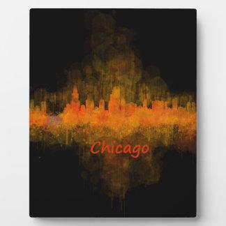 chicago Illinois Cityscape Skyline Dark Placa Expositora