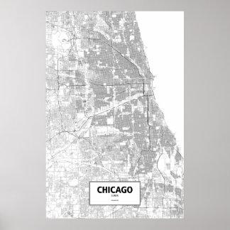 Chicago, Illinois (negro en blanco) Póster