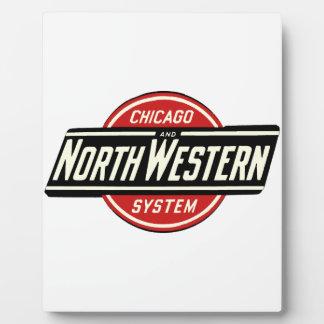 Chicago y logotipo del noroeste 1 del ferrocarril placa expositora
