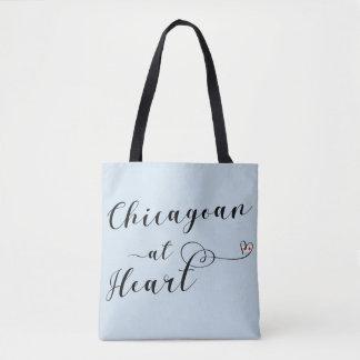 Chicagoan en el bolso de ultramarinos del corazón,