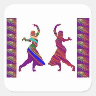 Chicas de BAILE:  Danza del estilo de Bollywood Pegatina Cuadrada