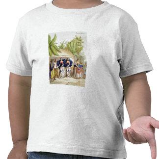Chicas de baile polinesios, grabados por A. Camiseta