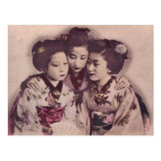 Chicas de geisha japoneses, 1900 postal