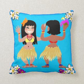 Chicas de Hula que bailan en la almohada azul