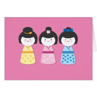 Chicas de Kokeshi Tarjeta Pequeña
