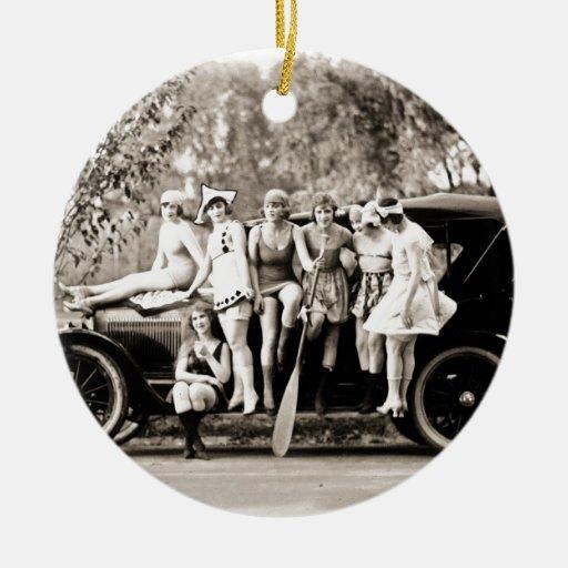 Chicas de Mack Sennett que bañan el vintage del Qu Adornos